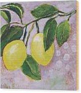 Yellow Lemons On Purple Orchid Wood Print by Jen Norton