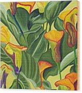 Yellow Lilies Wood Print