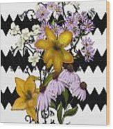 Yellow Lilies On Black And White Zigzag Wood Print