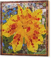 Yellow Lily With Streaks Of Red Abstract Painting Flower Art Wood Print