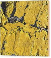 Yellow Line Abstract Wood Print
