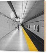 Yellow Line Wood Print