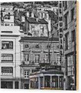 Yellow Lisbon Trolley Wood Print