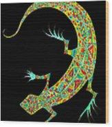 Yellow Lizard On Black Wood Print