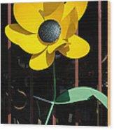 Yellow Metal Garden Flower Wood Print