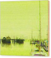 Yellow Mooring Wood Print
