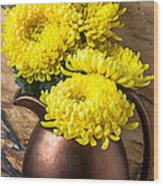Yellow Mums In Copper Vase Wood Print