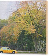 Yellow Nyc Taxi Driving Through Central Park Usa Wood Print