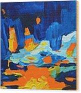 Yellow Orange Blue Sunset Landscape Wood Print