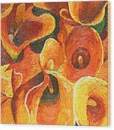 Yellow-orange Calla Lilies Wood Print
