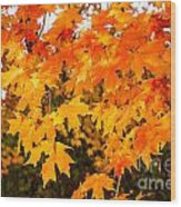 Yellow Orange Fall Tree Wood Print