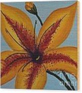 Yellow Oriental Lily Wood Print