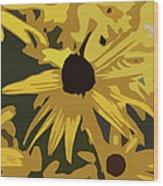 Yellow Paper Flower Wood Print