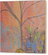 Yellow Peace Bird On Orange Wood Print