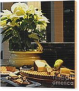 Yellow Poinsettia And Cheeses Wood Print
