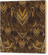 Yellow Pop Art Hearts Wood Print