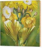 Yellow Poppies In Poppy Vase Wood Print