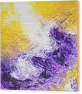 Yellow Purple Inspirational Color Energy Original Abstract Painting Tide Of Time By Chakramoon Wood Print