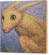 Yellow Rabbit Wood Print