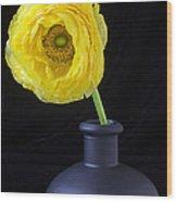 Yellow Ranunculus In Black Vase Wood Print