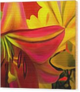 Yellow Red Kiss Wood Print