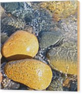 Yellow Rocks At Lake Shore Wood Print