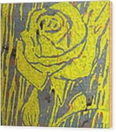Yellow Rose On Blue Wood Print by Marita McVeigh