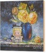 Yellow Roses And Headvase Girl Wood Print