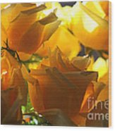 Yellow Roses And Light Wood Print