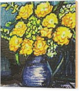Yellow Roses In Blue Vase Wood Print