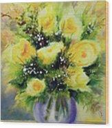 Yellow Roses Wood Print by Kathy Braud