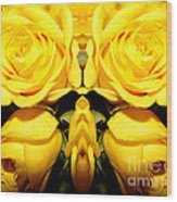 Yellow Roses Mirrored Effect Wood Print