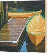 Yellow Rowboats Wood Print