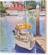 Yellow Sailboat And Coronado Boathouse Wood Print by Mary Helmreich