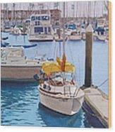 Yellow Sailboat Oceanside Wood Print
