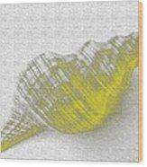 Yellow Seashell Wood Print