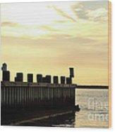 Yellow Sky At Lbi Wood Print by John Rizzuto