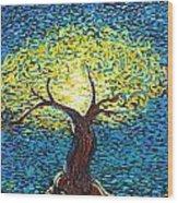 Yellow Squiggle Tree Wood Print