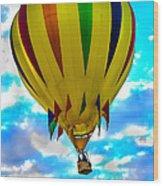 Yellow Striped Hot Air Balloon Wood Print