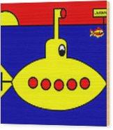 Yellow Submarine Heading for LIVERPOOL Wood Print