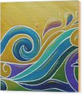 Yellow Sun Surf Wood Print