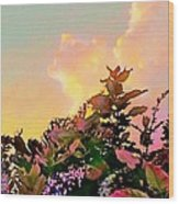 Yellow Sunrise And Flowers - Vertical Wood Print