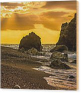 Yellow Sunset Wood Print