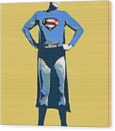 Yellow Superman Wood Print