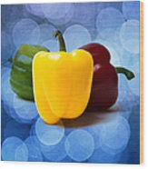 Yellow Sweet Pepper - Square - Textured Wood Print