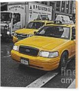Yellow Taxi Color Pop Wood Print