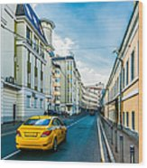 Yellow Taxi Of Moscow Wood Print