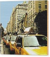Yellow Taxis Wood Print by Claudette Bujold-Poirier