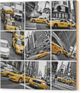 Yellow Taxis Collage Wood Print