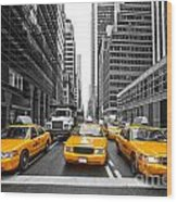 Yellow Taxis In New York City - Usa Wood Print